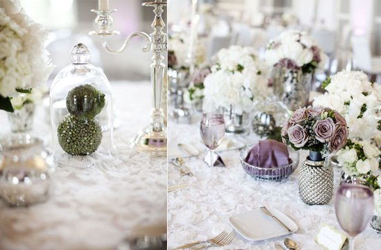 photo of stunning wedding reception tablescapes romantic color palette