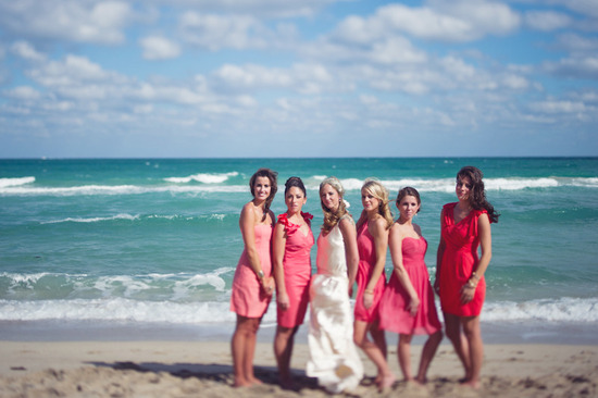 beach wedding bright wedding color palette pink bride with maids