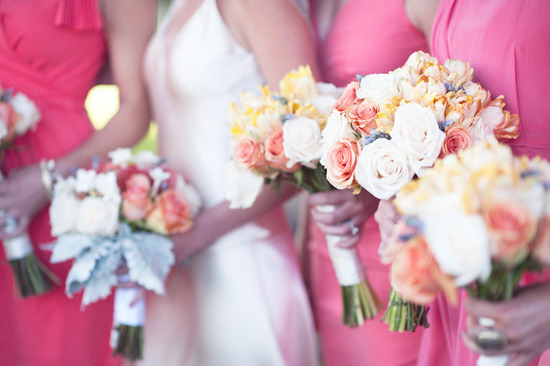 beach wedding bright wedding color palette pink bridal bridesmaids bouquets