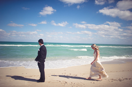 beach wedding bright wedding color palette pink first look approach