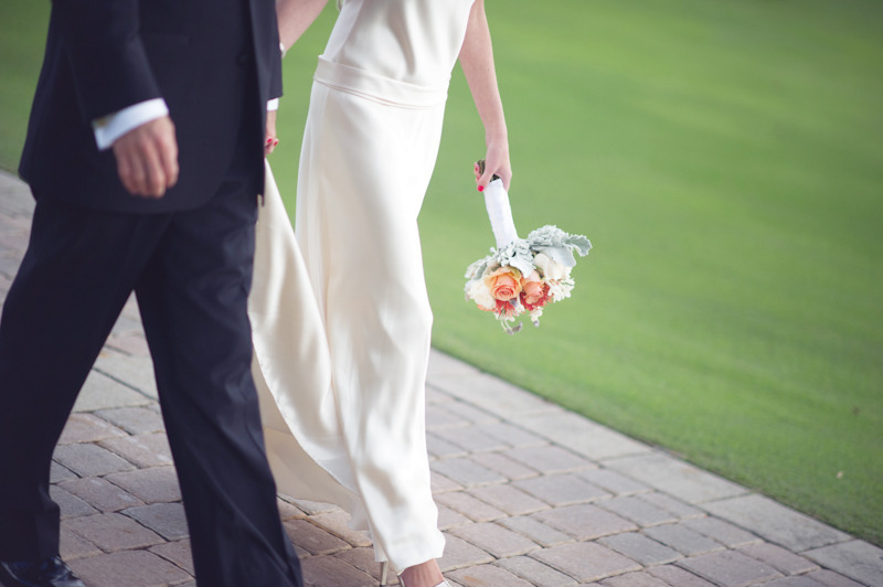 Beach-wedding-bright-wedding-color-palette-pink-bride-walks-with-groom.full