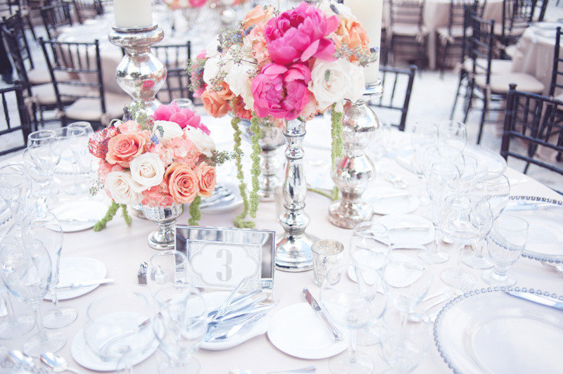 Beach Wedding Bright Color Palette Pink Peony Flower Centerpieces
