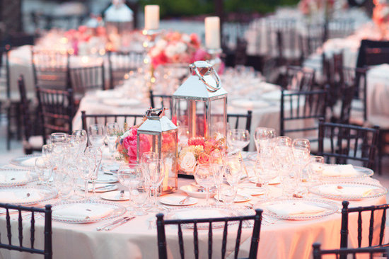 beach wedding bright wedding color palette pink peach tablescape