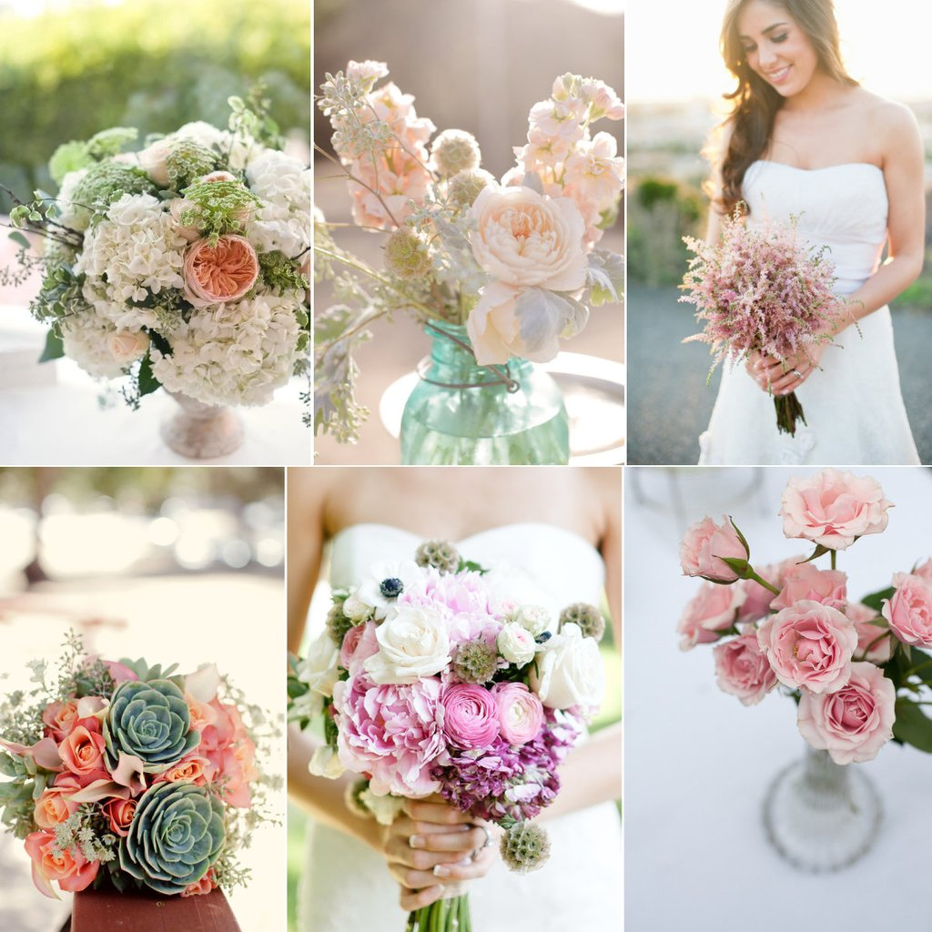 Vintage Inspired Wedding Color Palette Bridal Boquuet Flowers
