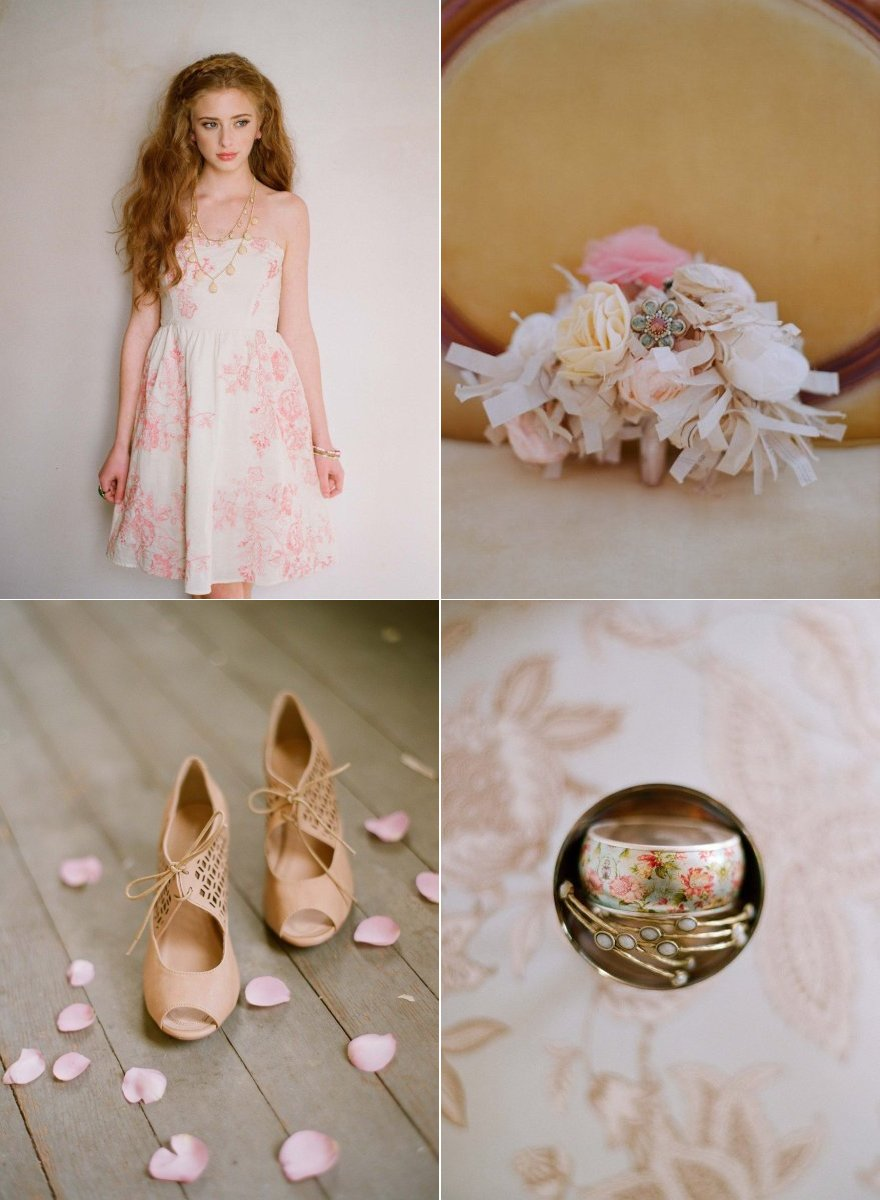 soft romantic wedding color palette vintage inspired wedding shoes