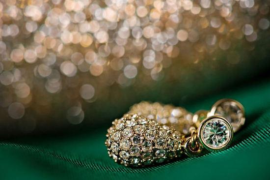 photo of green grey black wedding colors bridal jewelry