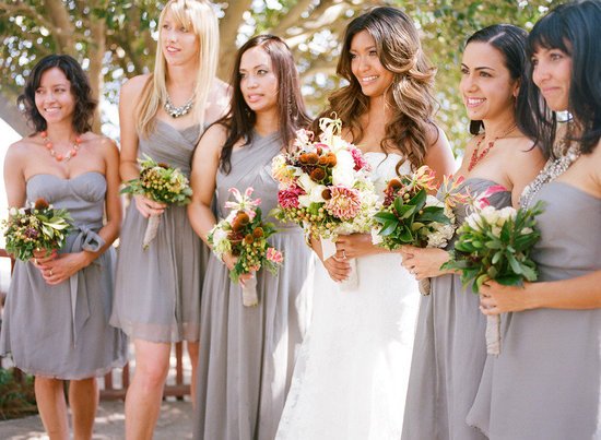 grey mix and match bridesmaids dresses