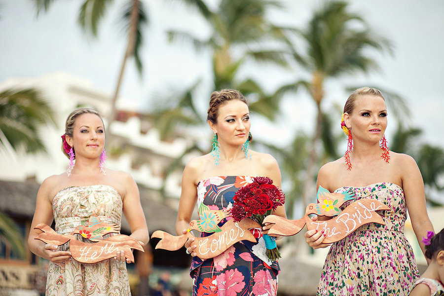 Destination Wedding Bridesmaids Printed Dresses