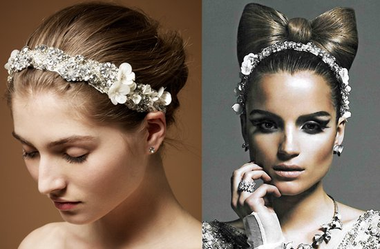 jenny packham wedding headband crystals flowers