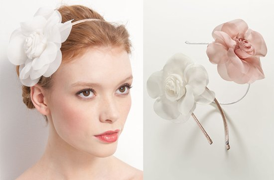simple wedding headband flower adorned