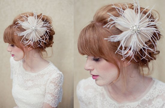 photo of Gold feather bridal hair flower fascinator