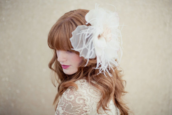 bohemian bridal style large feather hair flower