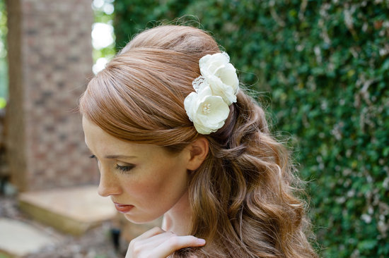 romantic wedding hair flowers all down bridal hairstyle
