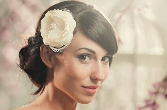 simple wedding hairstyle romantic ivory flower hair accessory