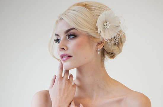 ivory feather flower fascinator wedding hair accessory