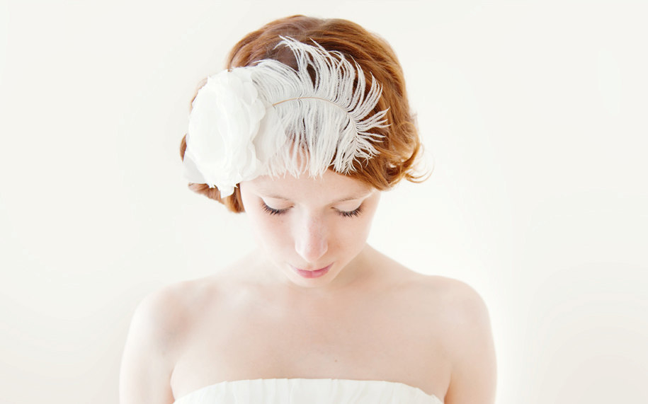 romantic bridal hair accessori flower with feather fascinator