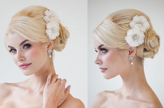 double wedding flower hair accessory with rhinestones