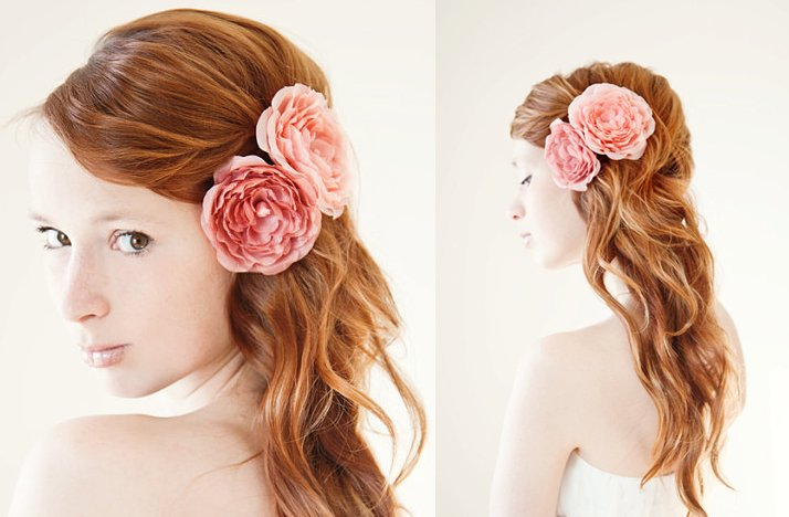 Wedding Hair Accessories Pink Flowers