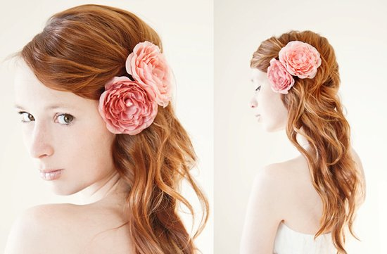 romantic wedding hair accessories pink wedding flowers