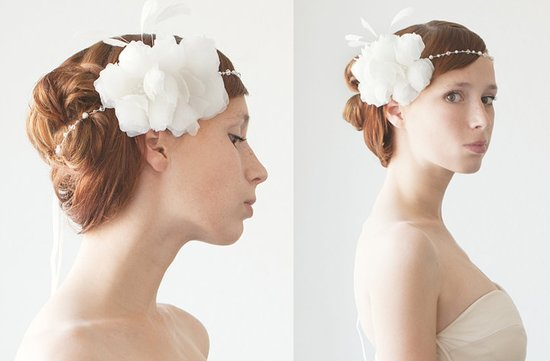 romantic wedding hair accessories tiara with feather flower