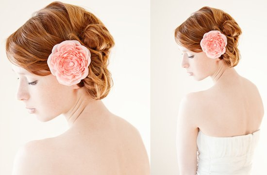 romantic bridal updo pink wedding hair flower