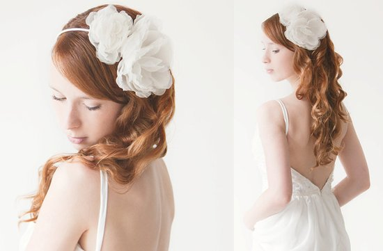 romantic bridal headband with ivory silk flower