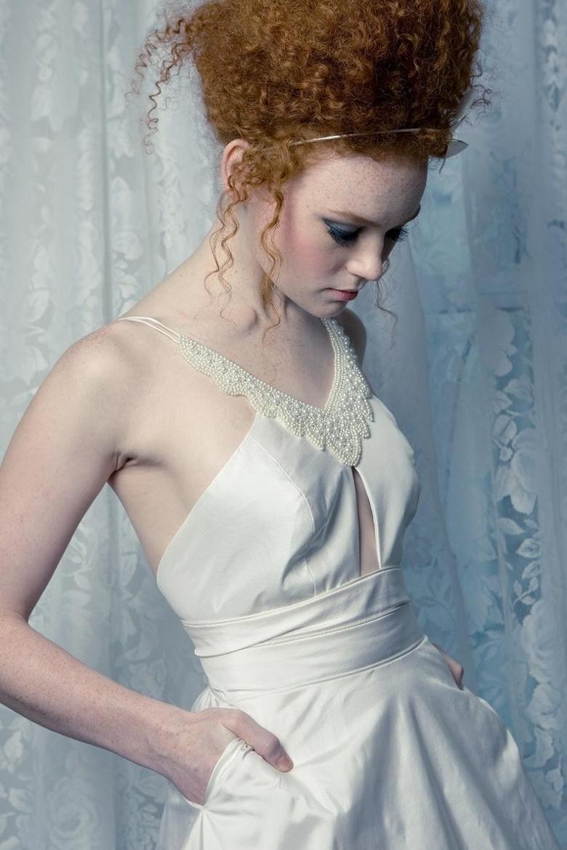 Halter wedding dress all white romantic for All white wedding dress