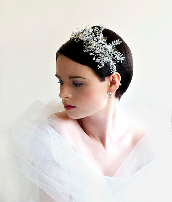 all white wedding style bridal headband 1