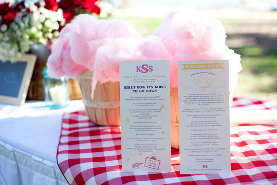 cotton candy wedding reception treats