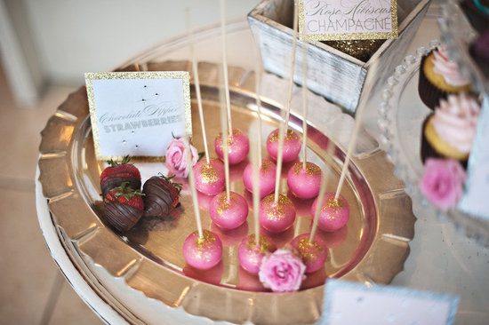 pink gold wedding reception cake pops