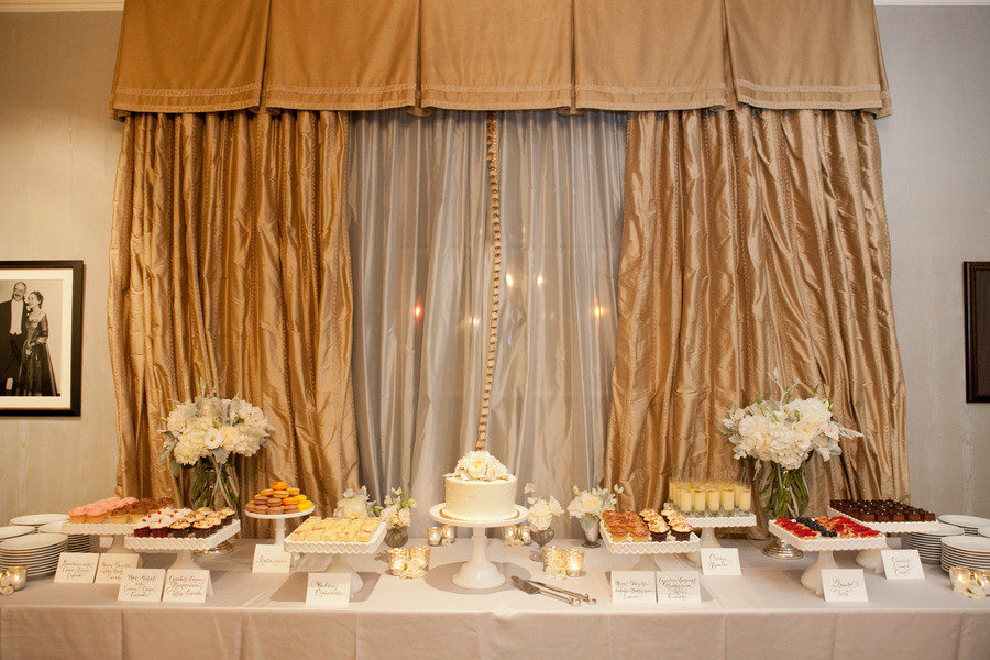 elegant desert bar at wedding reception