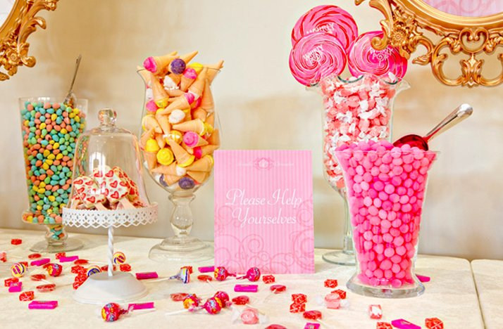 Hot Pink Gold Wedding Colors Dessert Candy Bar At Reception