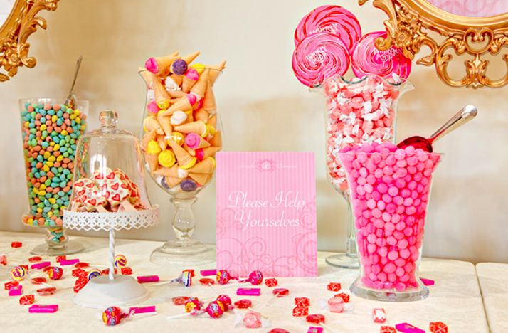 Hot pink gold wedding colors dessert candy bar at for Candy bar for weddings receptions