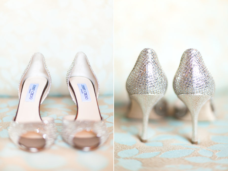 Jimmy Choo Wedding Shoes Silver Sparkly Peep Toes