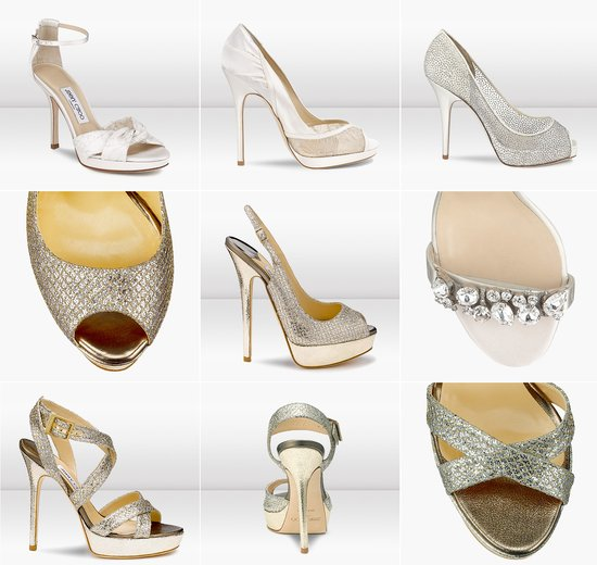 jimmy choo wedding shoes sparkly gold silver bridal heels