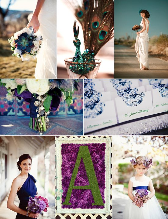 elegant jewel tones wedding color palette navy blue purple green