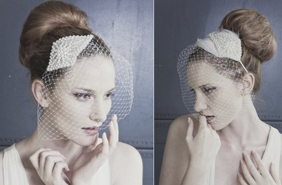 vintage inspired bridal veil with pearls