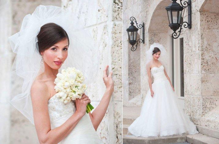 Bride-wears-white-a-line-wedding-dress-pouf-bridal-veil.full