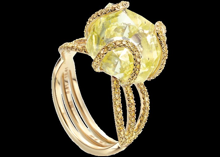 yellow diamond engagement ring rough diamonds