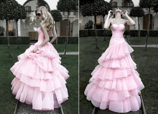 untraditional wedding dress pink ballgown 2012 bridal trends