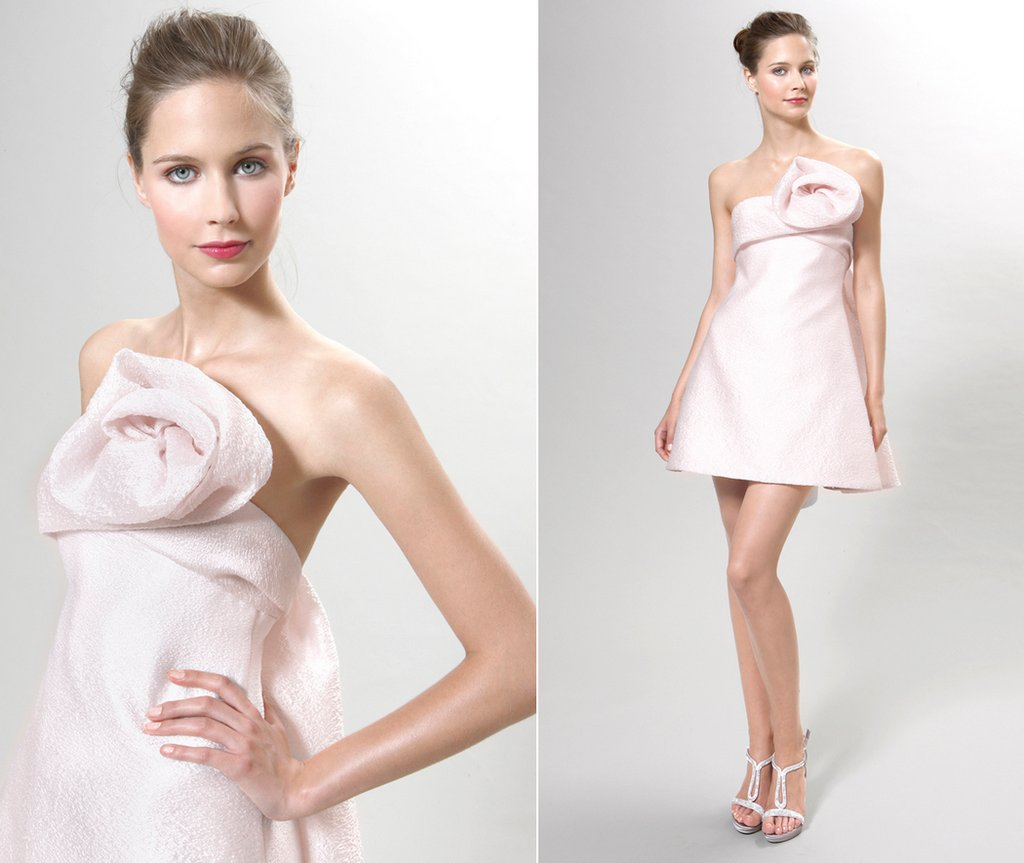 little white wedding reception dress in cotton candy pink