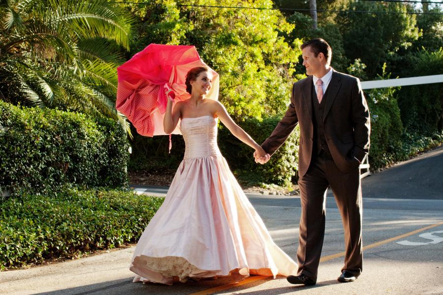 Bride-wears-pink-wedding-dress-strapless-ballgown.full