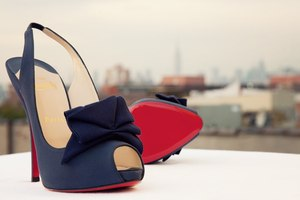 photo of navy blue christian louboutin bridal heels