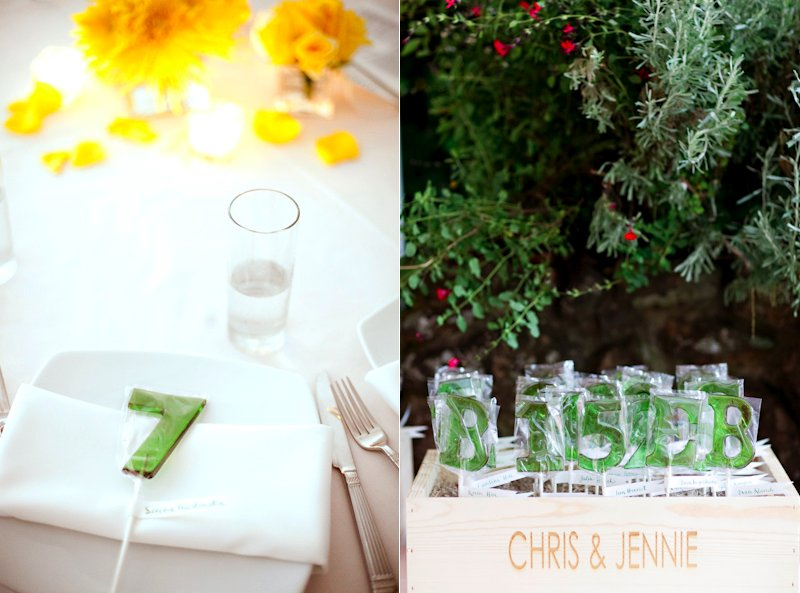wedding reception table numbers that double as guest favors