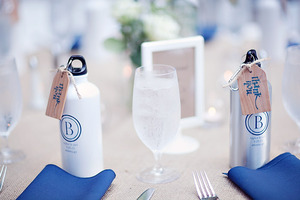 photo of wedding guest favors for active adventerous couples custom water bottles