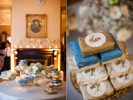 unique and personalized wedding favors glittery soap winter weddings