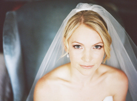 simple chic chignon DIY wedding hairstyles traditional veil