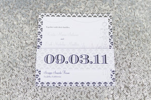 photo of modern wedding invitations white navy silver