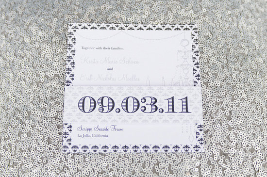 modern wedding invitations white navy silver