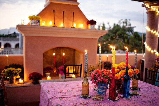 photo of colorful wedding reception southwest theme bright wedding flowers outdoor venue